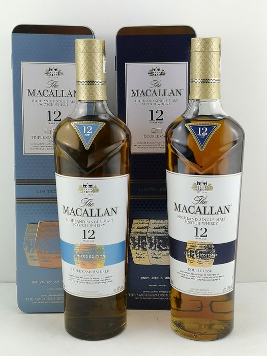 Macallan 12 years old Double Cask & Triple Cask Gift Tin - Limited Edition - 700 ml - 2 botellas