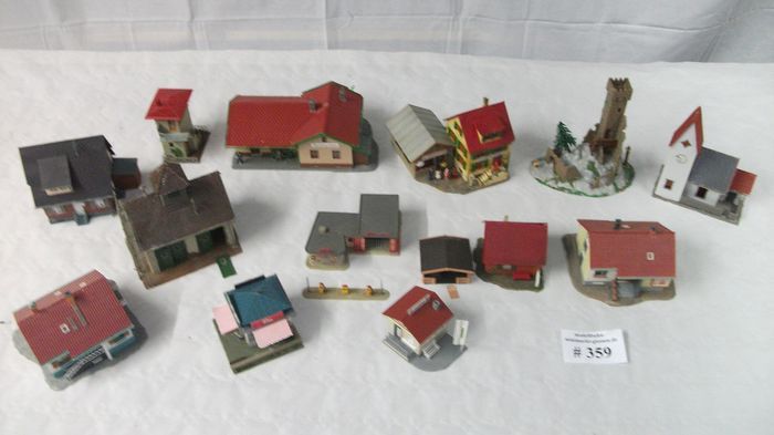 Faller, Kibri, Vollmer H0 - Scenery - 14 buildings, village / settlement with leisure buildings and accessories - # 359