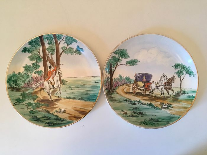 Laveno - Pair of painted plates (2) - Ceramic