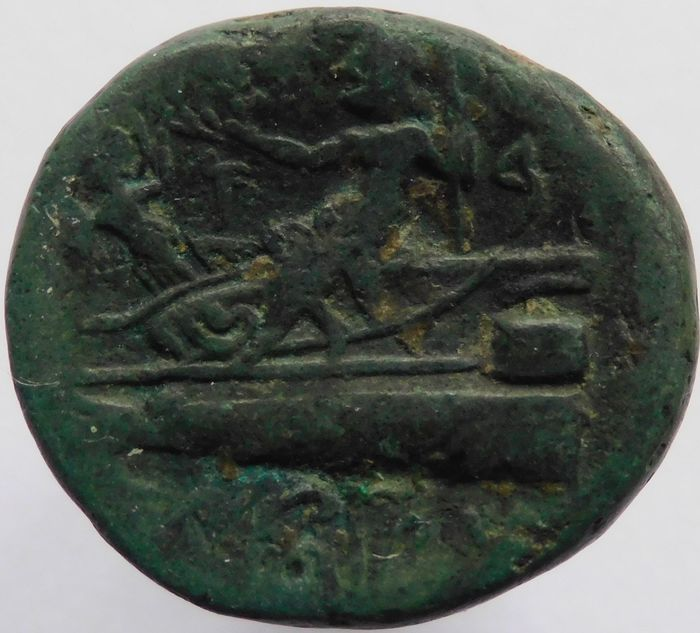 Greece (ancient) - Phoenicia, Arados. Æ (20mm ; 7,69gm), Civic Issue. (132/131 BC) Tyche/Prow - Bronze