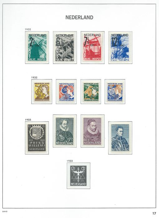 Netherlands 1932/1933 - Three complete sets - NVPH 244/255