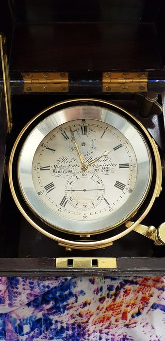 "Marine 2 day chronometer, Robert Roskell, Liverpool ""Maker To The Admiralty, 1430/58966"" - Brass, Mahogany, Rosewood - mid 19th century"