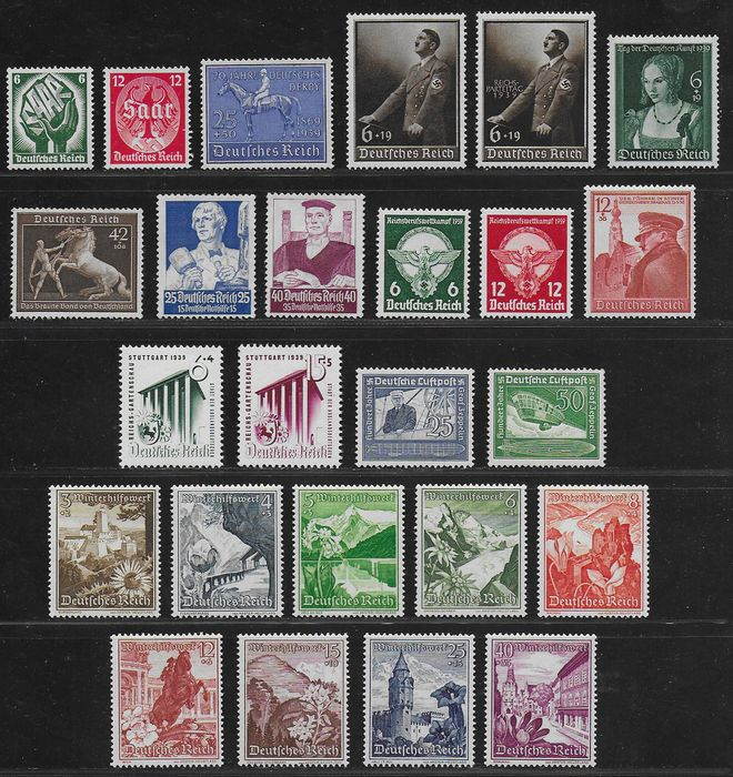 German Empire 1934/1939 - Some better sets and singles - Michel 544 / 545, 563 / 564, 669 / 670, 675 / 683, 689 / 694 and 698 /701