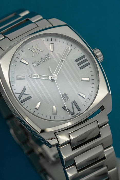 """Korloff - Square Watch White Mother of Pearl Stainless Steel Swiss Made  - """"NO RESERVE PRICE"""" CHRW - Heren - BRAND NEW"""