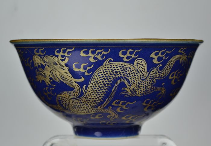 Bowl (1) - Blue-ground - Porcelain - Dragon - China - Qing Dynasty (1644-1911)
