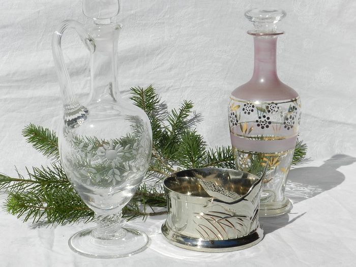 Two carafes and a bottle container - Glass, Silverplate