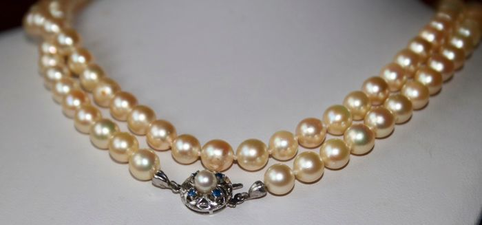 """14 kt. Akoya pearls, White gold, 7.00 mm - Necklace (90cm) """"AA"""" Japanese genuine sea/saltwater pearls - Sapphires"""