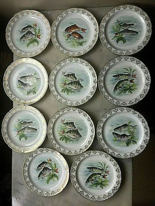 Limoges - Fish plates with peach decoration (11) - Art Deco - Porcelain with fine gold decor