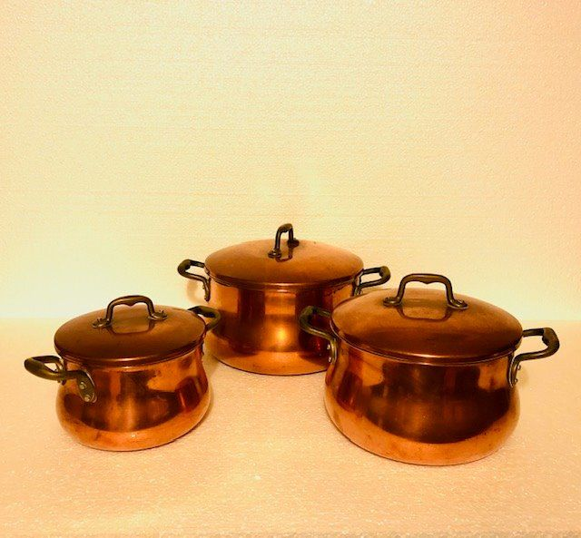 Set of mussel pots (3) - Copper, Steel (stainless)