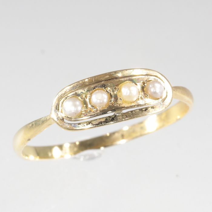 18 kt. Yellow gold - Ring, Engagement, Vintage Art Deco, 1930's Interbellum - Pearl - Free resizing!* NO RESERVE PRICE