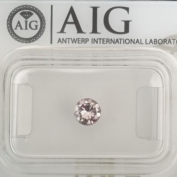 Diamond - 0.37 ct - Round - Natural Fancy Pink - SI1, ***No Reserve Price***