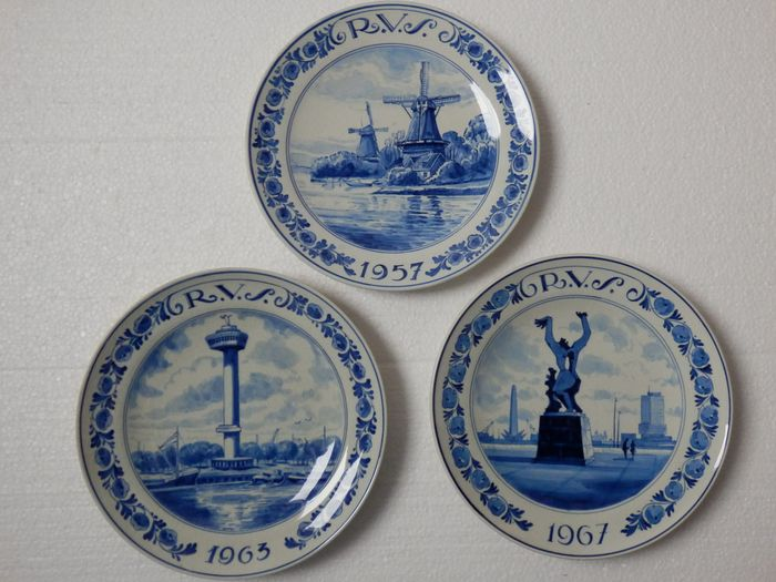 Porseleinen Fles  - 3 RVS Insurance Company Signs - Porcelain