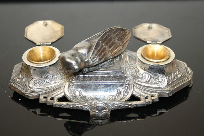 Raphael - Silver plated Ink set with cicada signed Raphael (1) - Art Nouveau - silvered