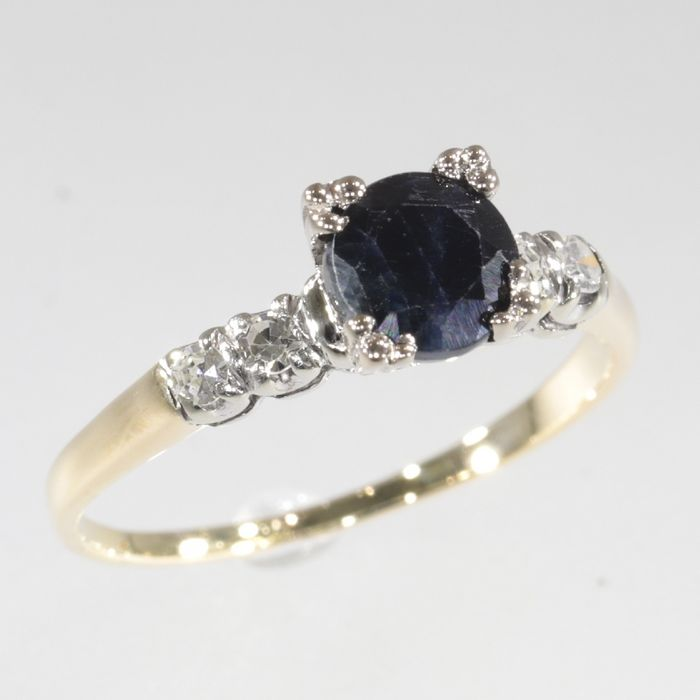 14 kt. White gold, Yellow gold - Ring, Solitair/Engagement, Vintage 1950's Retro Fifties - 1.20 ct Sapphire - Diamonds, Free resizing!* NO RESERVE PRICE