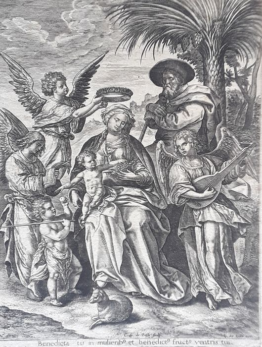 Crispijn de Passe the Elder, after Maarten de Vos - The Rest on the Flight into Egypt; the Holy Family with St John the Baptist