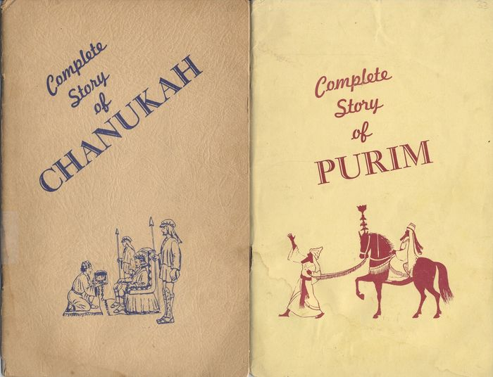 2  booklets: Nissan Mindel - The Complete Story of Chanukah/Purim -  Message Rabbi Mendel Schneerson Lubavitch -  1956