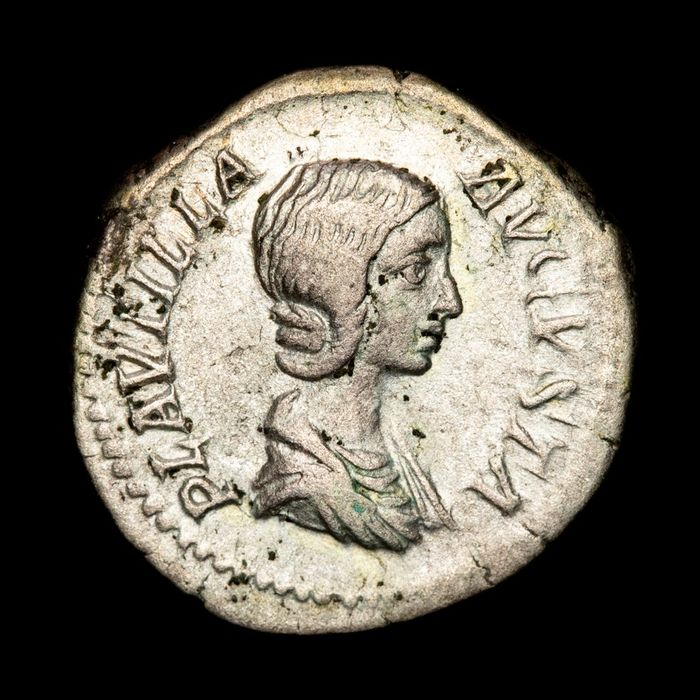 Roman Empire - AR Denarius - Plautilla (202-205 A.D.) VENVS VICTRIX, Venus holding apple and palm, Cupid to left. - Silver
