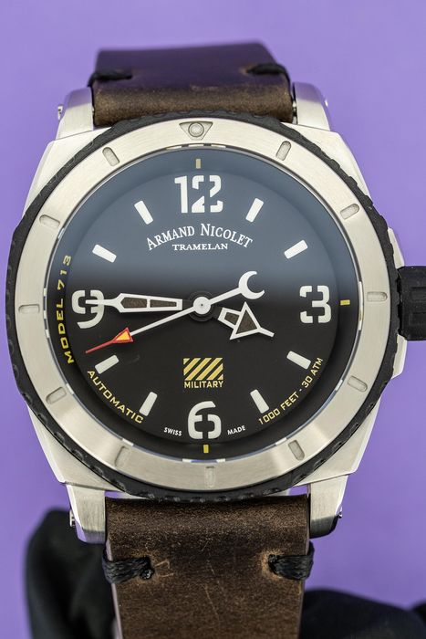 Armand Nicolet - Automatic S05-3 Diver Military Black Dial with Hand Made Leather Strap - A713PGN-NR-PK4140TM - Men - Brand New