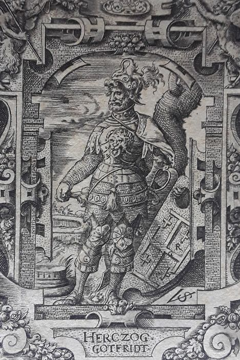 Virgil Solis [1514-1560] - Herczog Gotfridt [Godfrey of Bouillon wearing armour and a helmet and holding a shield]