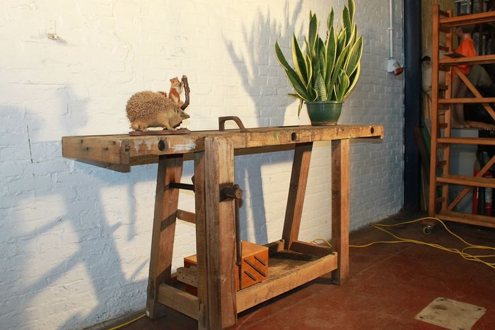 A tough lived carpenter's workbench - wood solid