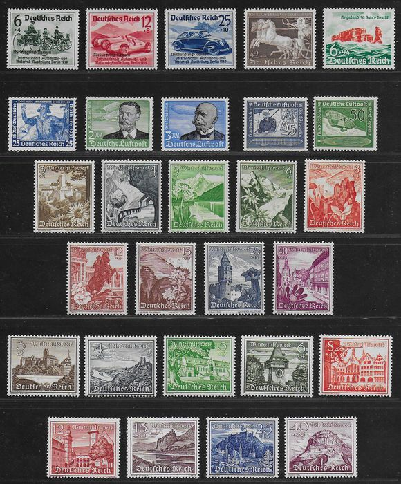 German Empire 1933/1940 - Some better sets and singles - Michel 506 A, 538 / 539, 669 / 670, 675 / 683, 695 / 697, 730 / 738, 747 and 750