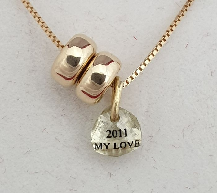 14 kt. Yellow gold - Necklace with pendant - 0.80 ct Diamond
