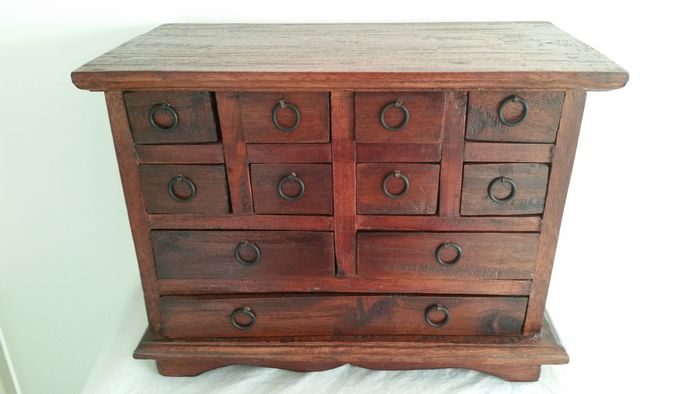 Fruitwood Apothecary Cabinet - Eleven Drawers - Wood and Iron