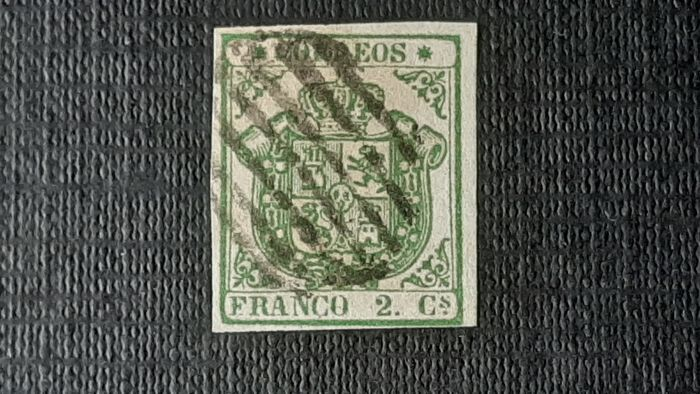 Spanien - 1854 - Coat of Arms of Spain, imperforated, value of 2c. green - Edifil 32