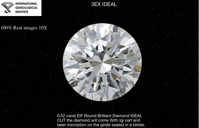 1 pcs Diamant - 0.52 ct - Rond - E - IF (intern zuiver)