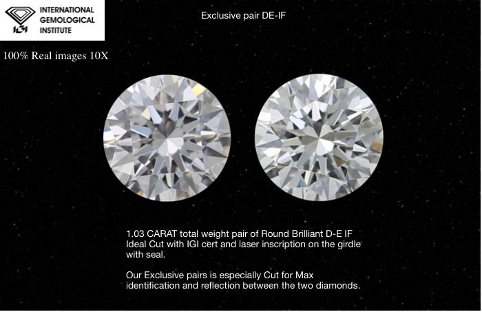 2 pcs Diamanten - 1.03 ct - Rund - D (farblos), E - IF (makellos)