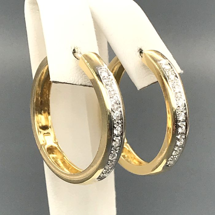 18 kt. Yellow gold - Earrings - 0.45 ct Diamond