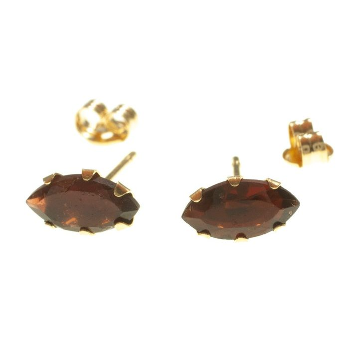 18 kt. Yellow gold - Earrings Garnet