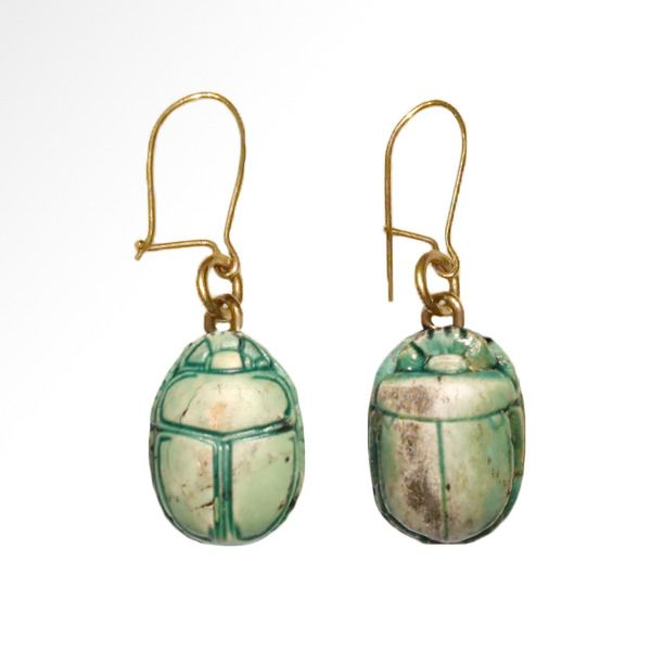 Ancient Egyptian Steatite  Scarabs Mounted as Earrings, , Early New Kingdom, 18th Dynasty