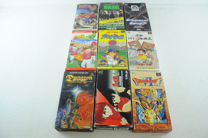 Nintendo Super Famicon (Jap Nes) - Lot of 9 Super Famicom Games w/ Ranma, Dragon Quest & More - In original box