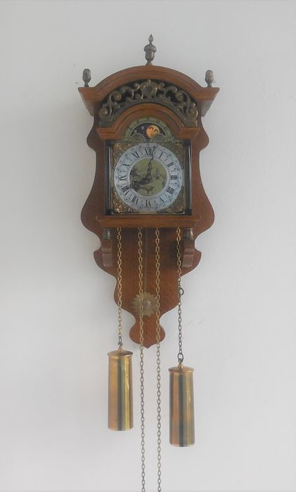 Beautiful oak Sallander clock with moon phase and lunar pendulum works perfectly - Wood / Glass / Copper / Brass - mid 20th century