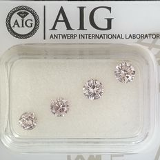 4 pcs Diamant - 0.99 ct - Rund - Natural Fancy Light Pink - SI1, SI2, VS2, ***No Reserve Price***