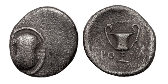 "Greece (ancient) - Boeotia, Thebes. AR hemidrachm ""Boeotian shield"", 379-371 BC - Silver"