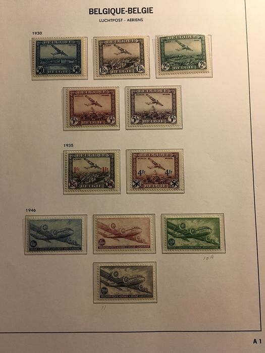 Belgien 1930/1958 - Collection of airmail stamps on DAVO album pages - OBP / COB PA 1/35 en 810A