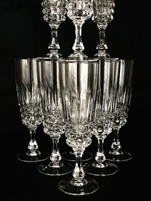 """""""CRISTAL D'ARQUES"""" model """"POMPADOUR""""  - Exclusive large crystal crockery __ 10 faceted clear crystal Champagne flute glasses - Top quality!"""