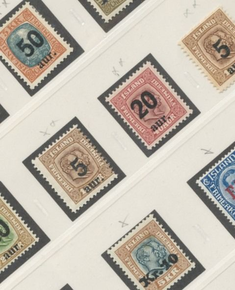 Island 1921/1930 - Album page with overprints from the period