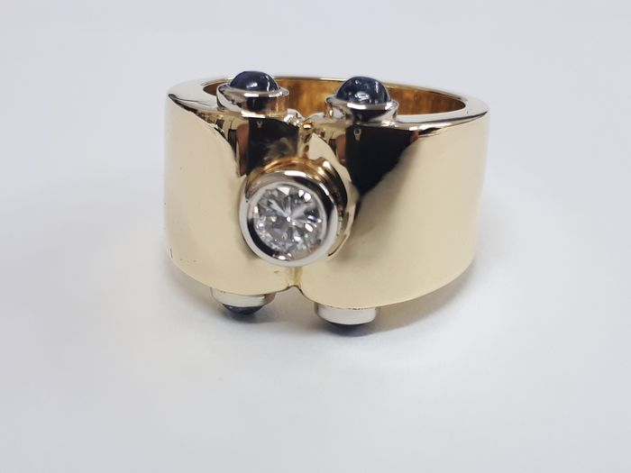 18 kt. Yellow gold - Ring - 0.20 ct Diamond - Sapphires