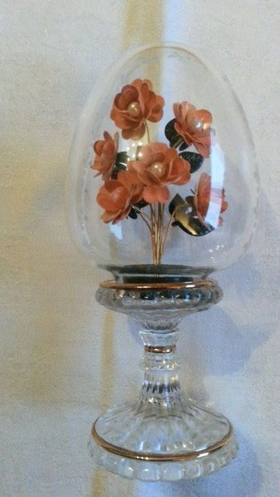 House of Faberge -  Imperial Austrian Crystal Egg - 24 crt gold plated, crystal, very rare orange colour