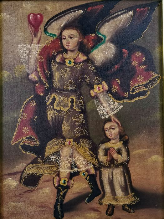 Anonymous - Escuela Cuzqueña - Angel with Most Sacred Heart of Jesus