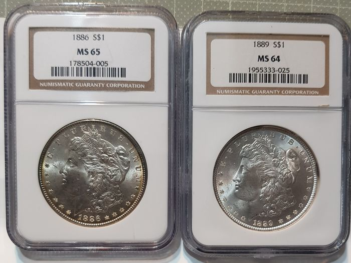 USA - Dollars (Morgan) 1886 + Dollar 1889 in (2 pieces) NGC Slabs - Silber