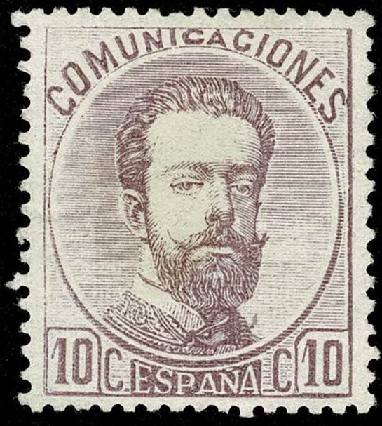 Spain 1872 - Amadeo of Savoy. 10 cts violet. - Edifil 120