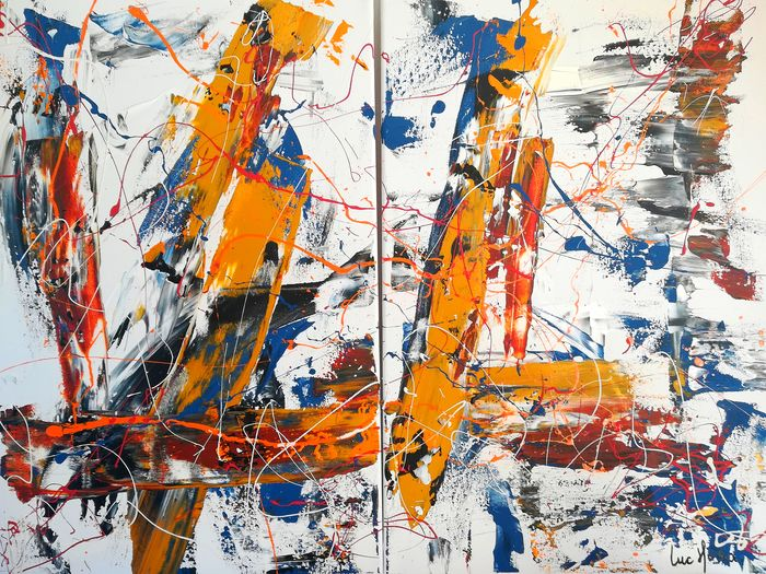 Luc Mora  - Abstract couleur 53 ( dyptique)
