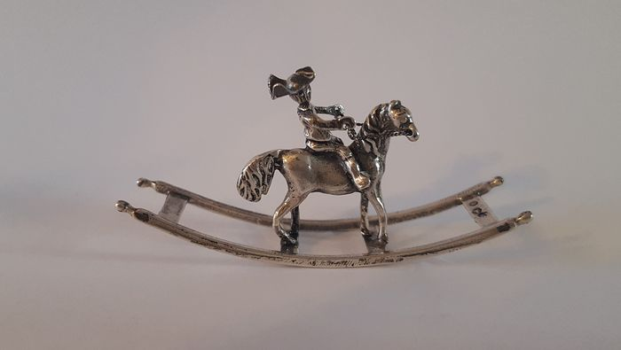 Miniature, Soldier On Rocking Horse - .835 silver - Niekerk - Netherlands - 1976