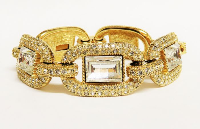 Christian Dior Gold-plated - Vintage statement bracelet with rhinestones