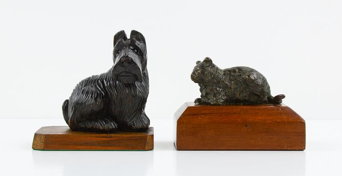 Cat and Dog Paperweight (2) - Brass, Wood- Chestnut