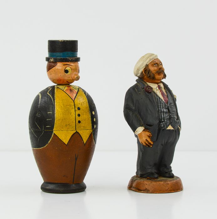 Box in the shape of a gentleman and statuette of Sailor (2) - Earthenware, Wood